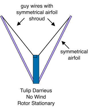 Tulip Darrieus No Wind Rotor Stationary