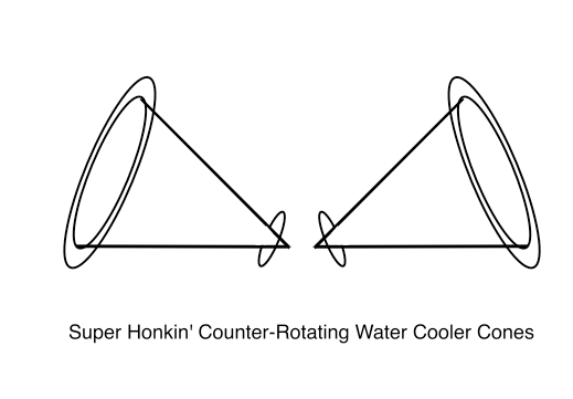 Super Honkin' Counter-Rotating Water Cooler Cones