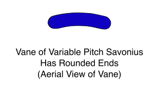 Vane of Variable Pitch Savonius Has Rounded Ends (Aerial View of Vane)
