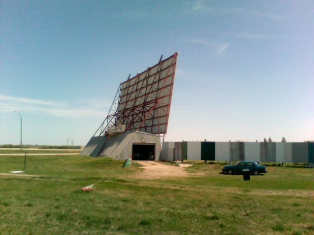 outdoor theater near Saskatoon, Saskatchewan that looks like wind dam