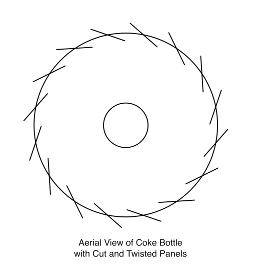 Aerial View of Coke Bottle with Cut and Twisted Panels
